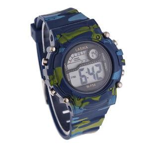 Children-Boys-Camouflage-Swimming-Sports-Digital-Wrist-Watch-Waterproof-Stylish