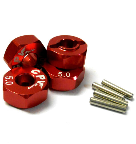 57815R 1//10 Scale RC M12 12mm Alloy Wheel Adaptors With Pins Nut Red 5mm Wide