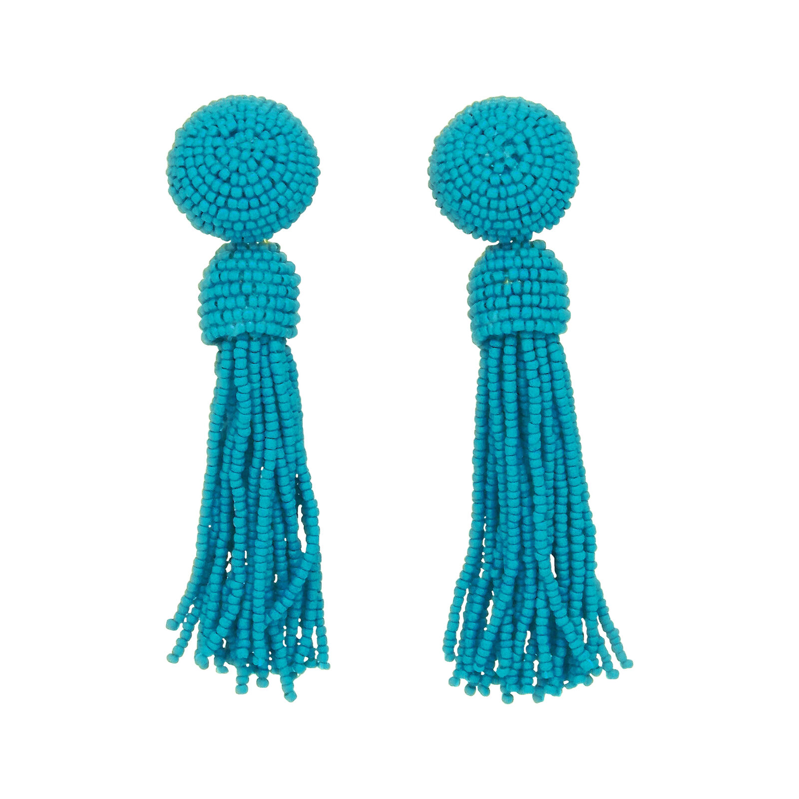 Sheila Fajl Tess Button Statement Tassel Beaded Earrings in Turquoise