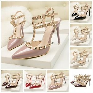 475713ecb3 UK Womens Studded Shoes Pointed Toe shoes Strappy Pumps High Heels ...