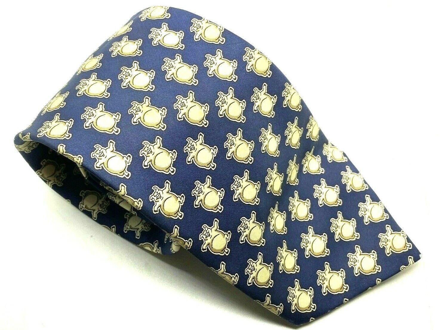 "PIGS BHS Men's Tie Fun Blue Novelty Polyester 3.75"" Width 59"
