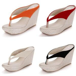 9b845e448 Chic Girls Wedge High Heel Sands Platform Flip Flops Womens Beach ...
