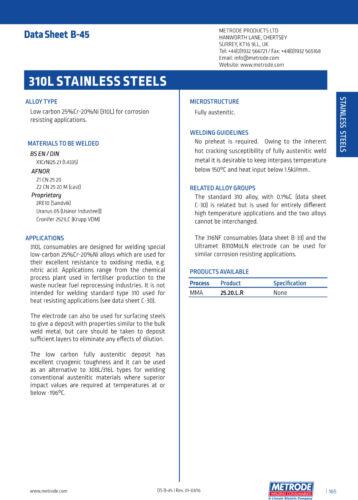 E310L 4mm x 350mm Metrode NF 25.20.L.R Stainless Steel Welding Electrode