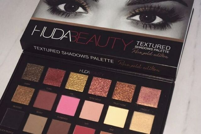 HUDA BEAUTY TEXTURED SHADOWS EYESHADOW PALETTE ROSE GOLD EDITION - NEW & BOXED