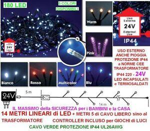 SERIE-180-LED-Mt-14-5-MULTICOLOR-CAVO-VERDE-da-ESTERNO-ALTA-SICUREZZA-IP44-24V