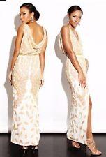 Virgos Lounge Cora Heavy Gold Ivory Embellished Drape Back Maxi Party Dress 10