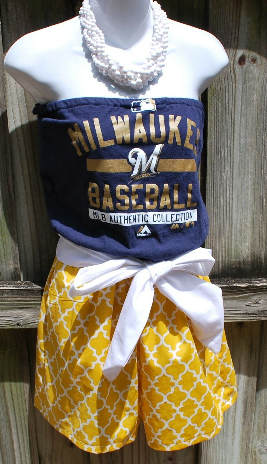 Milwaukee Brewers Game Day Romper, Jumper, Jumpsuit With Sash Small