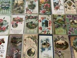 Lot-of-25-Pretty-Flowers-amp-Scenes-Vintage-Floral-Greetings-Postcards-a-581