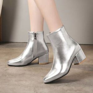 Womens Mid Chunky Heels Ankle Boots Side Zip Pointed Toe Party Sexy Casual Shoes
