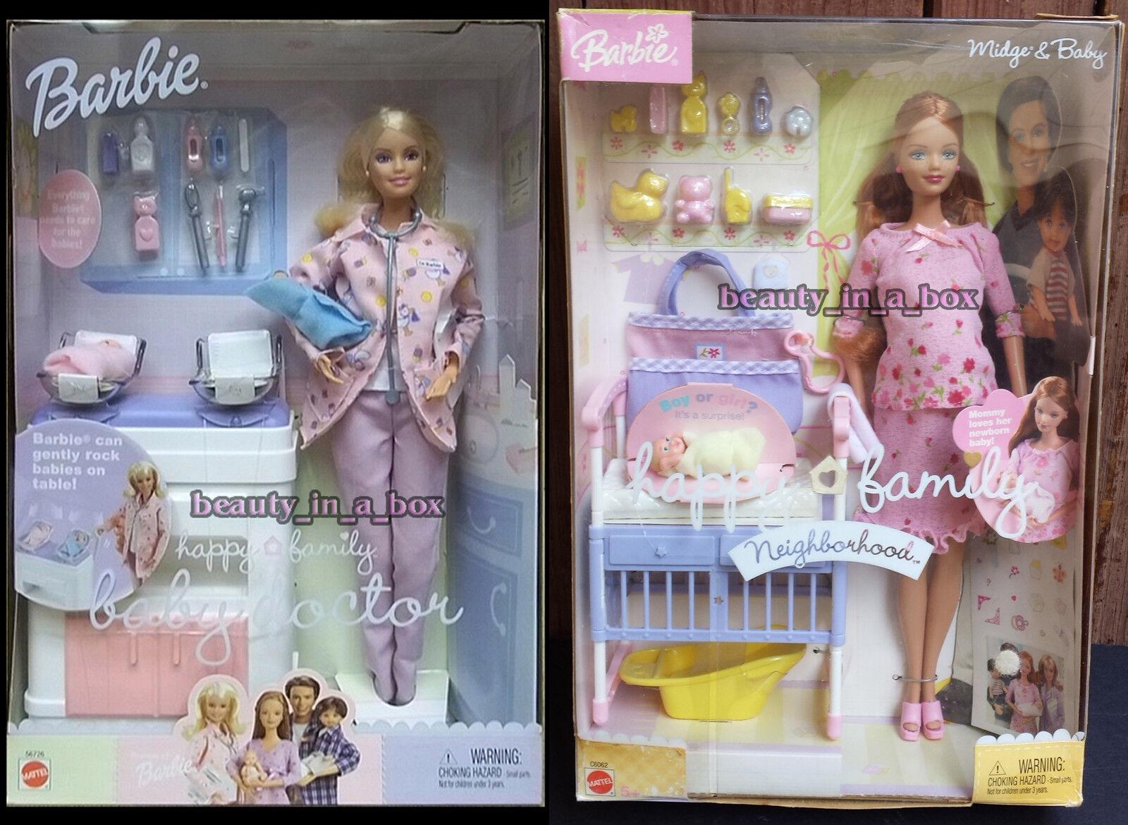Cecidomia del embarazadas muñeca Barbie y bebé rosadodo vestido médico de familia feliz Bump Lote 2