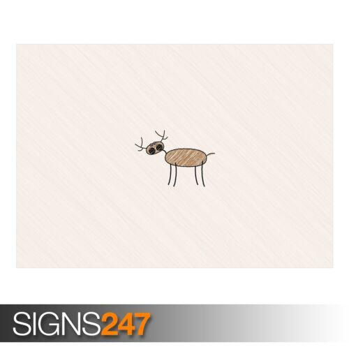 Funny Poster-Photo Poster print ART A0 A1 A2 A3 A4 AD624 Funny Deer dessin