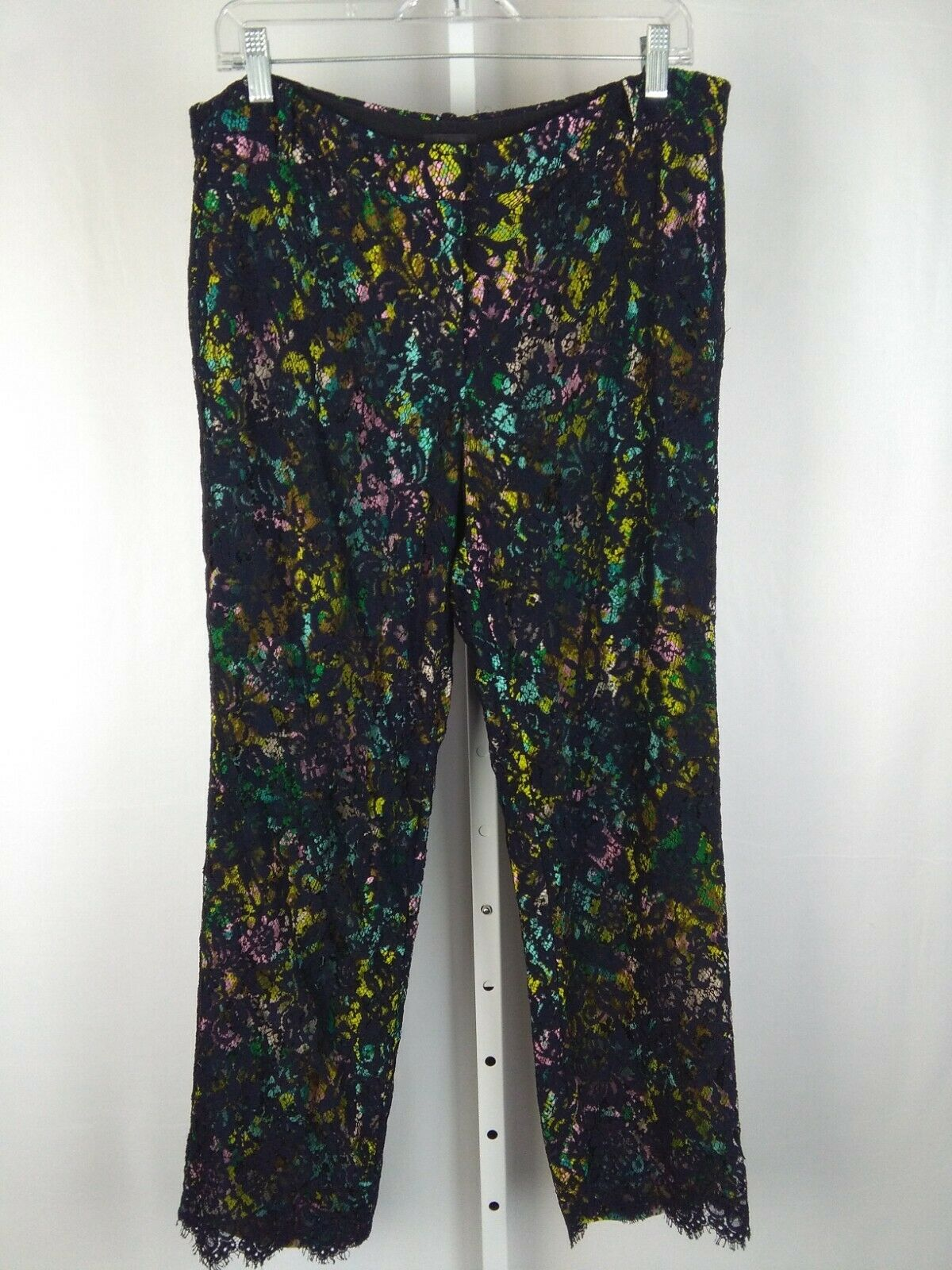 J.CREW COLLECTION Size 12 Navy Lace and Multicolor Lining Pants