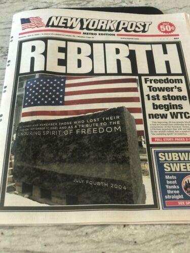 9//11-REBIRTH-N.Y JULY5,2004-FREEDOM TOWER/'S 1ST STONE BEGINS NEW WTC PAPR POST