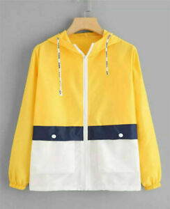Yellow-Women-fashion-Windbreaker-Spring-for-Coat-Jacket-new-Size-2xs
