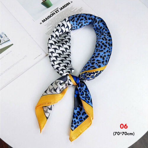 Scarves Multifunction Leopard Printed Neck Tie Silk Feel Satin Square Scarf