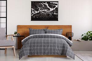 Dreamaker 250Tc Cotton Duvet Doona Quilt Cover Set King Single Grid