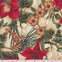 Hoffman Christmas Metallic 8824 Antique Beige Holiday Floral By The Yard