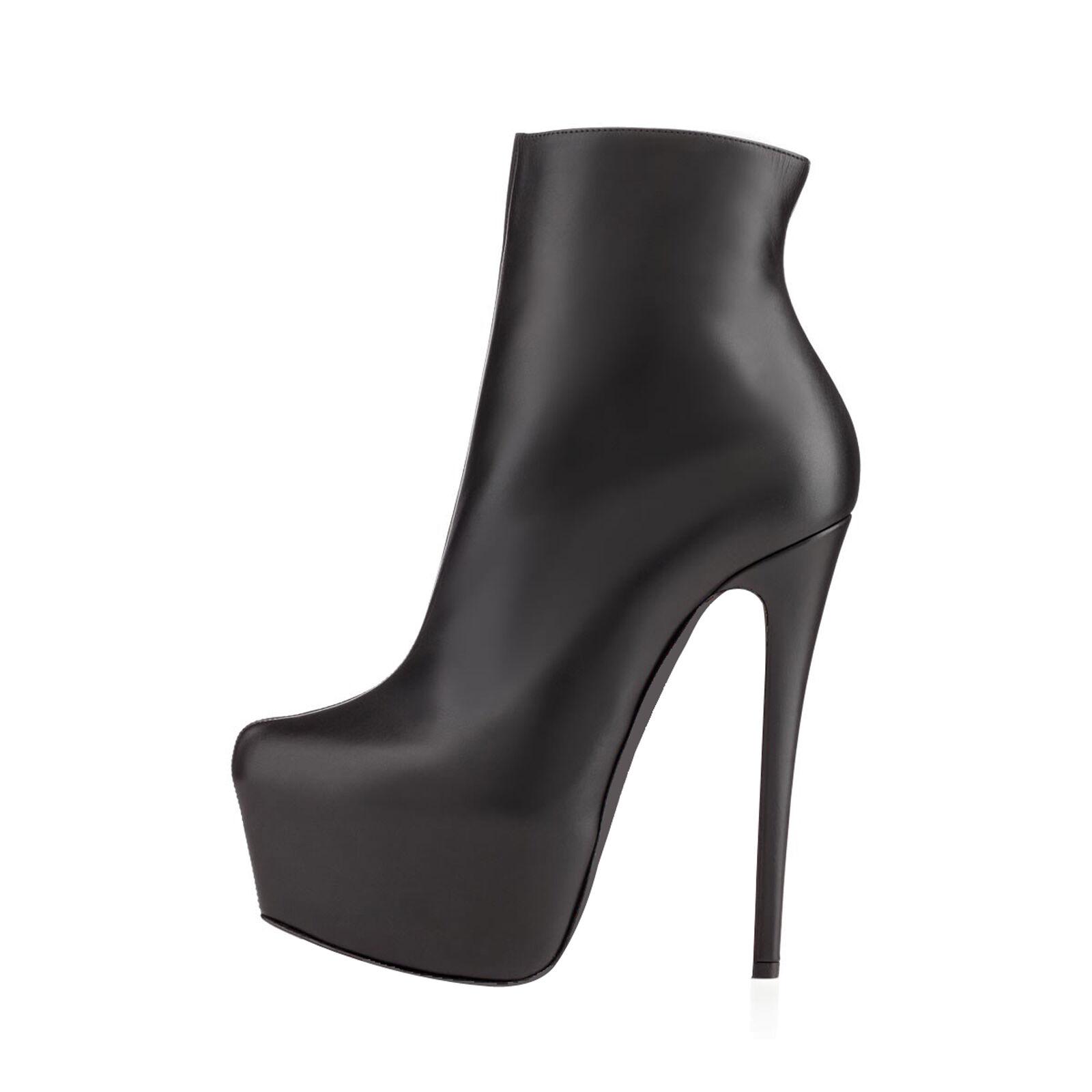Womens Ankle Riding Boots Stilettos High Heels Platform Solid color Elegant D118