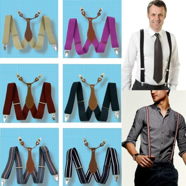 """New Suspenders 1.4"""" 3.5cm Width solid Brace Clip on Leather Fittings Braces BD6H"""