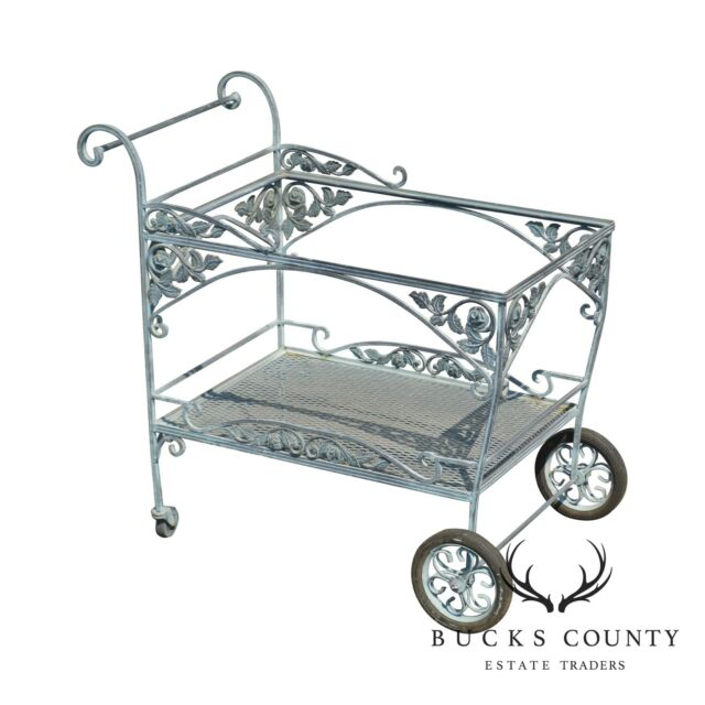 Prime Woodard Chantilly Rose Vintage Wrought Iron Garden Patio Serving Tea Cart Evergreenethics Interior Chair Design Evergreenethicsorg
