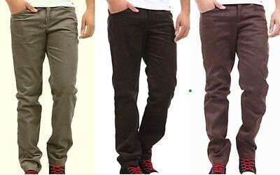 Pantaloni Uomo Jeans Velluto Absolut Joy Grigioverde Marronescuro B290 Tg M L Xl