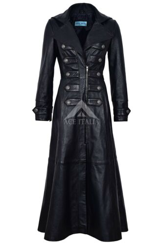 Full Ladies Jacket Rock 100 Goth Real Long Black New Leather 3490 length Coat YqrTFY