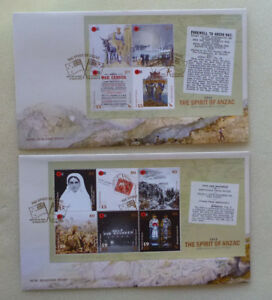 2015-NEW-ZEALAND-SPIRIT-OF-ANZAC-SET-OF-2-SHEETLET-FDC-FIRST-DAY-COVERS