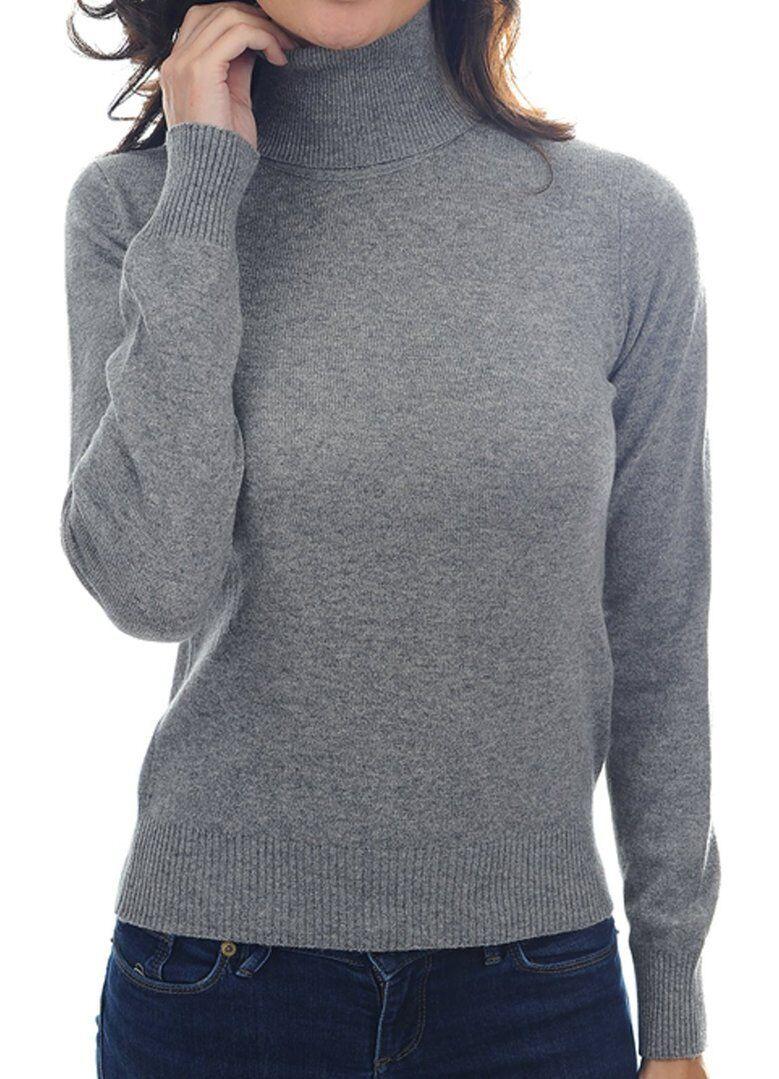 Balldiri 100% Cashmere Damen Pullover Rollkragen mit Bündchen grau XL