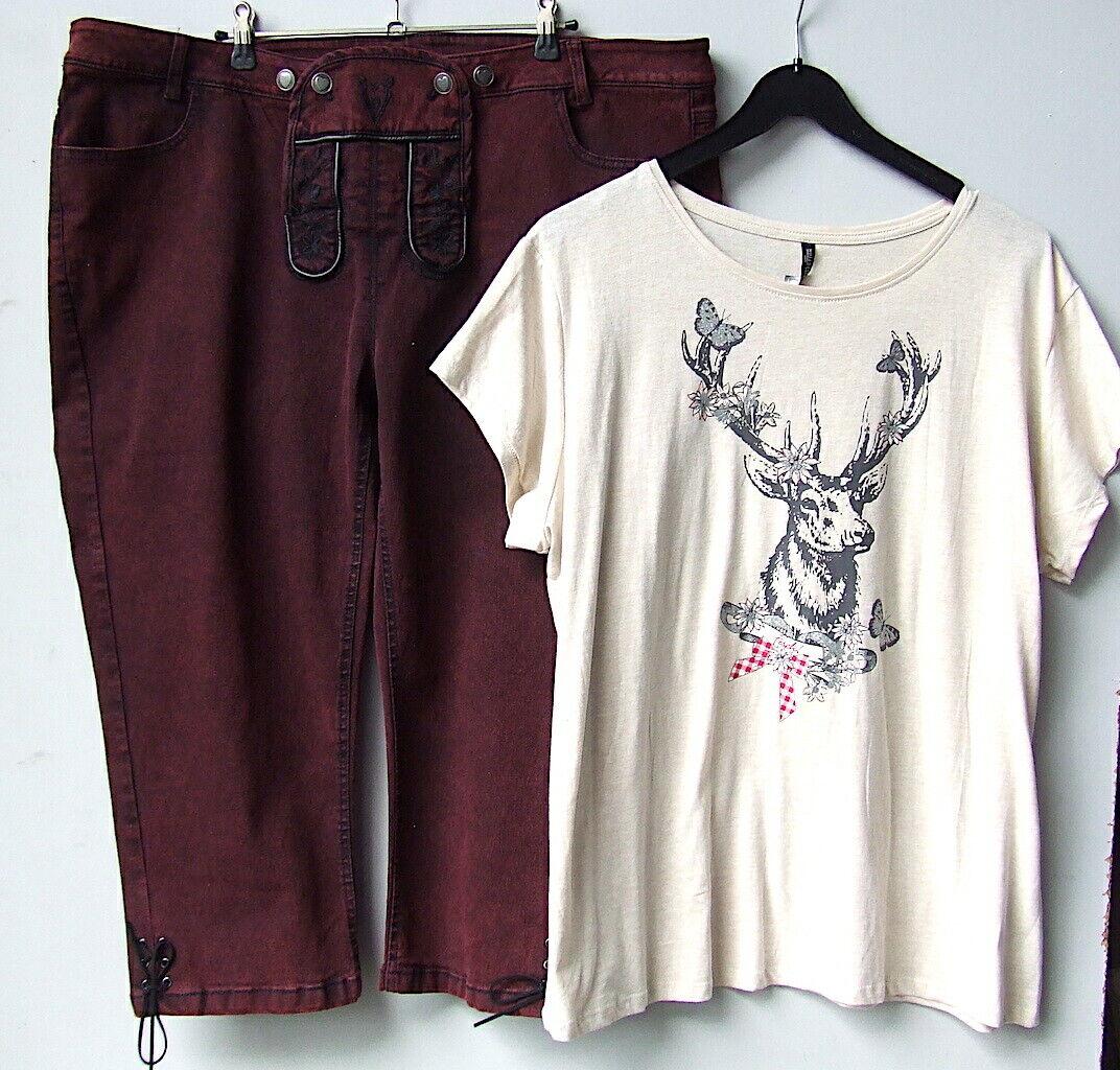 Hose Trachtenhose + Trachten-Shirt Gr.50 52 Topzu. Stretch-Wanderhose Damenhose