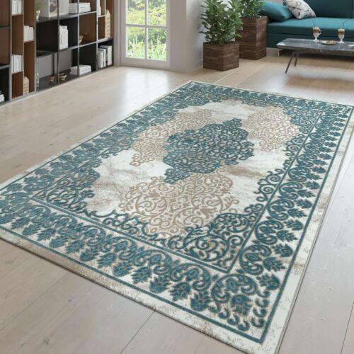 Kurzflor Teppich Wohnzimmer 3D-Optik Orientalisches Design Ornamente In Hellblau