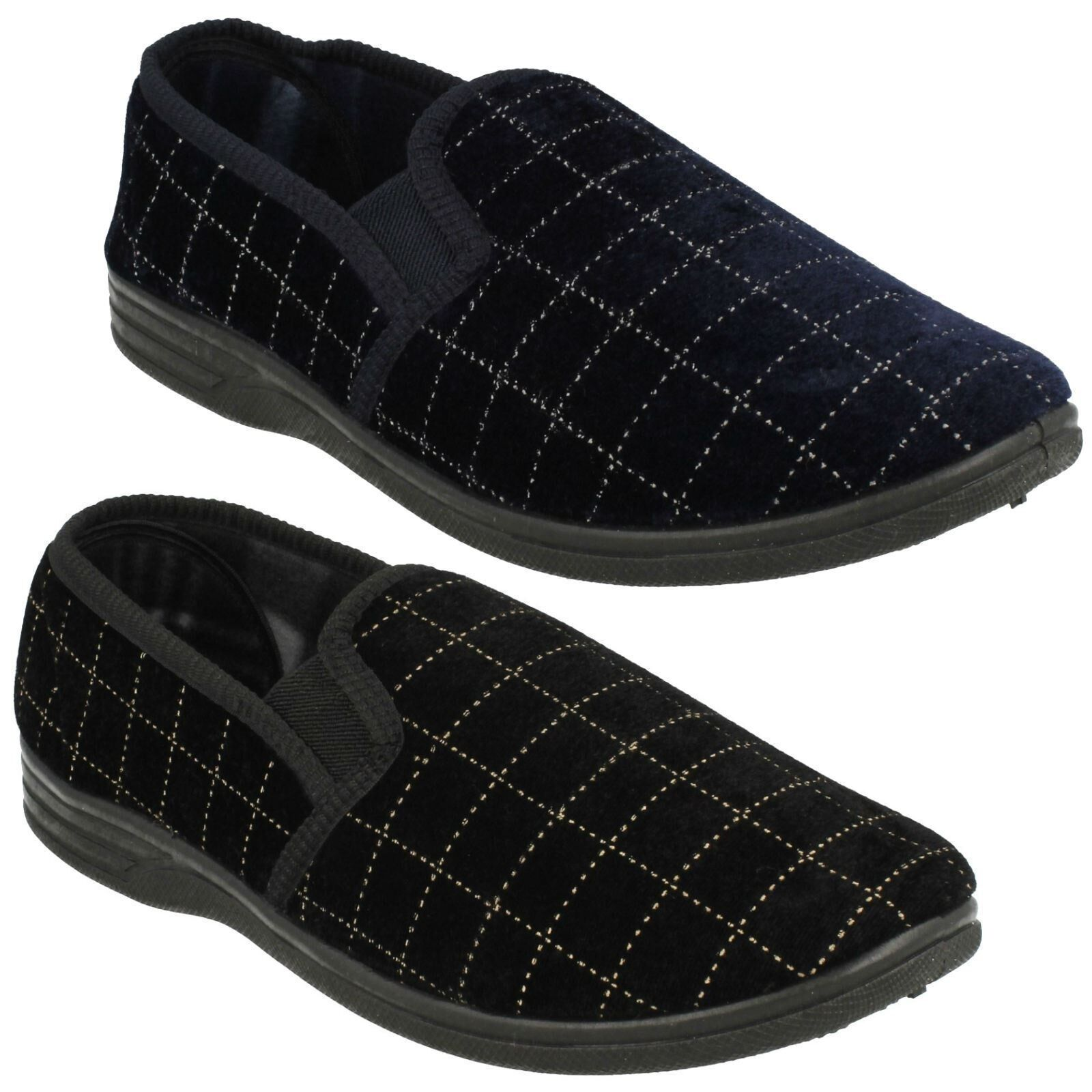 MENS COMFORTABLE SPOT ON CHECK DESIGN COMFORTABLE MENS BLACK NAVY HOME WINTER SLIPPERS MS44 SIZES 349d18
