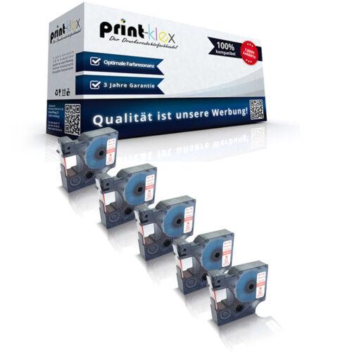 5x Alternative Schriftbänder für Dymo 45015 12mm x 7m Farbband-Office Plus Serie