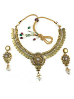 Women's Indian Jewelry Sets Kundan Pearl Lakshmi Gold Coin Antique Necklace