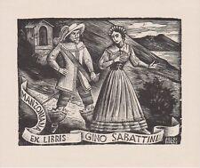 Armando BALDINELLI (Italy) Exlibris Sabattini Lady Manzoniana Wood Engraving X2