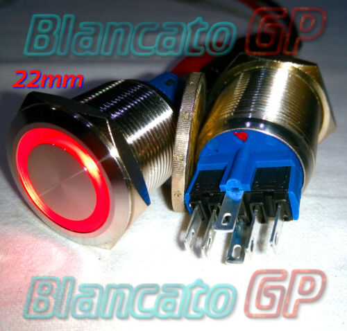 INTERRUTTORE a PULSANTE 22mm SPDT LED ROSSO 12V IP67 switch auto moto camper kfz