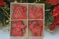 12 wooden red white shabby chic christmas decorations tree star heart train