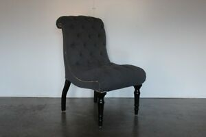 Mint Bespoke ButtonBack Brewster Chaise Armchair Chair in Grey Zoffany Fabric - <span itemprop=availableAtOrFrom>Whalley, United Kingdom</span> - Returns accepted under the terms of the Distance Selling Regulations, with return shipping costs to be covered by the Customer. Most purchases from business sellers are protected by the C - Whalley, United Kingdom