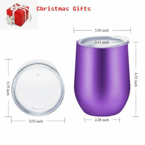2X Stainless Steel Wine Glasses Vacuum Tumbler Insulated with Lids Drinks 12oz