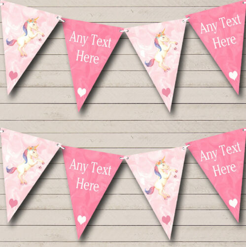 Marbre Rose Licorne Personnalisé Baby Shower Bunting Party Banner