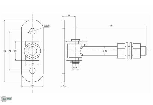 Torangel einstellbar Torscharnier H/ängscharniere M18 mit Anschraubblech Verzinkt