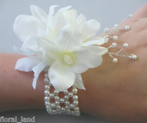 1 x silk wedding singapore orchid wrist corsage bridal cream white image is loading 1 x silk wedding singapore orchid wrist corsage mightylinksfo