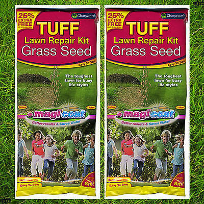 2 x Tuff Lawn Grass Seed Repair Kit 150g - Each Pack Covers Up to 8m2