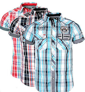 9074aaca Geographical Norway Men's Plaid Shirt short Sleeve T-Shirt Polo Club ...