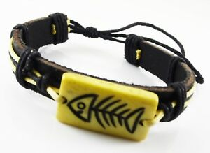 BLACK-LEATHER-BRACELET-WITH-YELLOW-CORD-AND-FISH-SKELETON-CHARM-MENS-OR-WOMANS