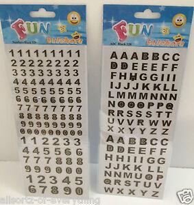 Alfabeto letras mayúsculas y números Auto Adhesivo Pegatinas Borde De Oro Negro