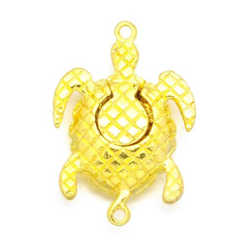 10 Sets Alloy Pave Rhinestone Big Magnetic Clasps Turtle Closure Gold Tone 37mm
