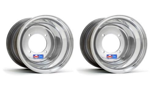 "DWT Polished Rear Wheels Rims 10/"" 10x8 4//115 Yamaha Raptor 700 YFZ450 Banshee"