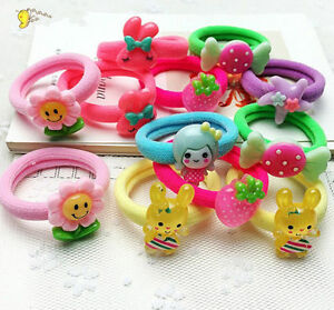 10pcs Baby Kids Girl Hair Bobble Bow Floral Toddler Girls Elastic ... a4d637a8b96