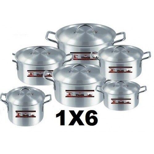 Ollas de cocina 6 piezas tamaño   1.2.3.4.5, 6 Marca Tigre De Aluminio (publica Gratis en Reino Unido)