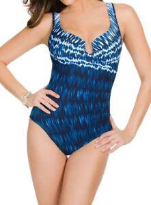 Orig $150 Miraclesuit Escape Swimsuit Size 12 42 Slimming Purple
